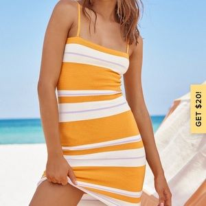 Feel the Heat Orange Striped Ribbed Bodycon Dress